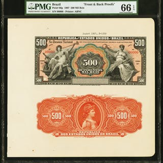 Brazil Thesouro Nacional 500 Mil Reis 1907 Pick 86p Front and Back