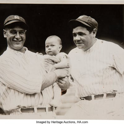1927 Lou Gehrig Holding a Baby & Babe Ruth Original Photograph, PSA/DNA Type 1.