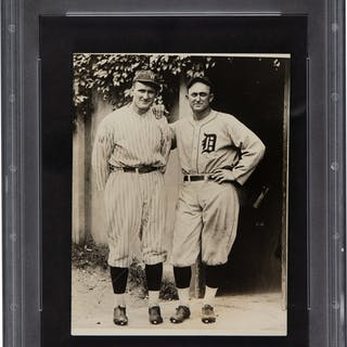 Circa 1930's Ty Cobb & Walter Johnson Original News Photograph, PSA/DNA Type 4.