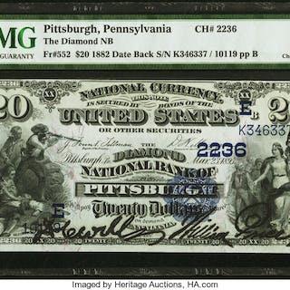 Pittsburgh, PA - $20 1882 Date Back Fr. 552 The Diamond NB Ch. # (E)2236