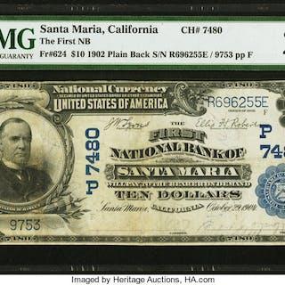 Santa Maria, CA - $10 1902 Plain Back Fr. 624 The First NB Ch. # (P)7480