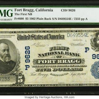 Fort Bragg, CA - $5 1902 Plain Back Fr. 600 The First NB Ch. # (P)9626