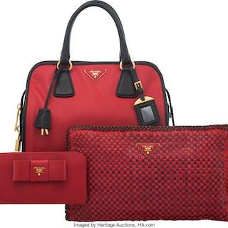 Prada Set of Three: Red Top Handle Bag, Clutch & Wallet Condition: