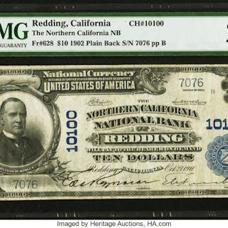Redding, CA - $10 1902 Plain Back Fr. 628 The Northern California