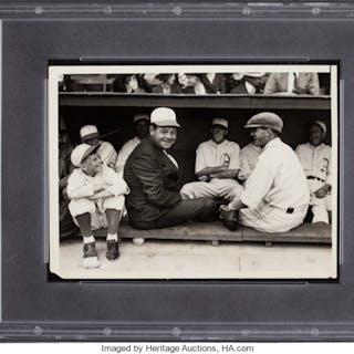 1931 Babe Ruth & Mickey Cochrane Original News Photograph, PSA/DNA Type 1.