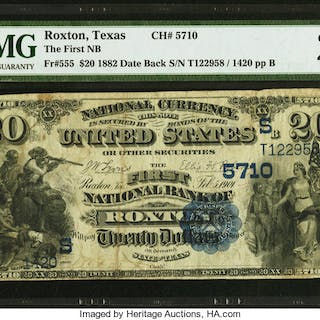 Roxton, TX - $20 1882 Date Back Fr. 555 The First NB Ch. # (S)5710