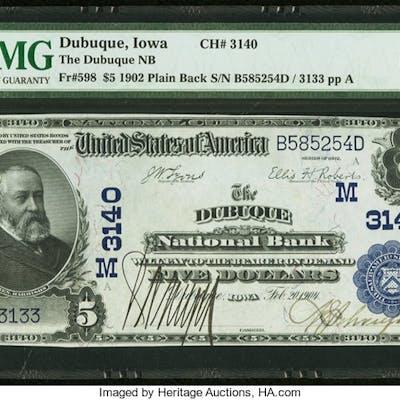 Dubuque, IA - $5 1902 Plain Back Fr. 598 The Dubuque NB Ch. # (M)3140