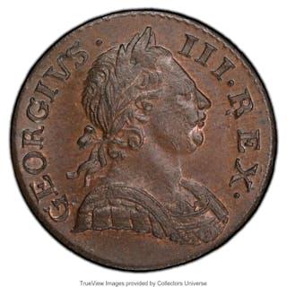 George III 1/2 Penny 1771 MS65 Brown PCGS,...