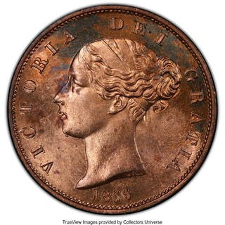 Victoria 1/2 Penny 1856 MS64 Red PCGS,...