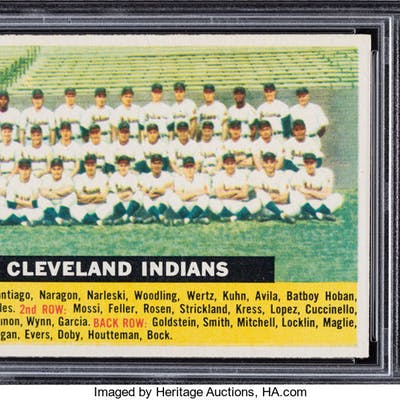 1956 Topps Indians (No Date-Centered-White Back) #85 PSA Mint 9 - None Higher.