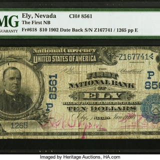 Ely, NV - $10 1902 Date Back Fr. 618 The First NB Ch. # (P)8561 PMG