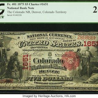Denver, CO - $5 1875 Fr. 401 The Colorado NB Ch. # 1651 PCGS Very