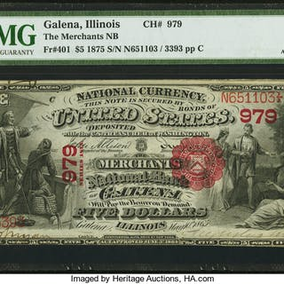 Galena, IL - $5 1875 Fr. 401 The Merchants NB Ch. # 979 PMG About