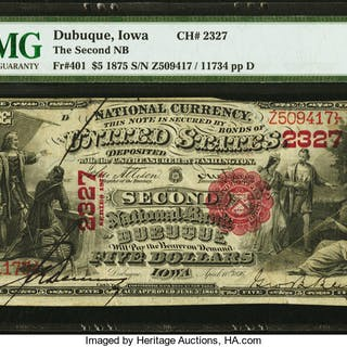 Dubuque, IA - $5 1875 Fr. 401 The Second NB Ch. # 2327 PMG Very Fine 30. ...