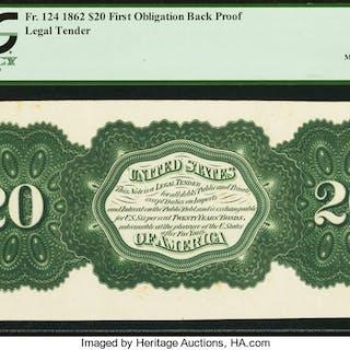 Hessler 701 Fr. 124 $20 1862 Legal Tender First Obligation Back Proof