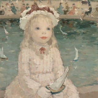 Dietz Edzard (German, 1893-1963) Young Girl with a Toy Boat, Jardin