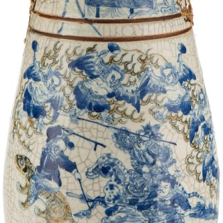 A Chinese Blue and White Crackle Porcelain Vase, early Republic Period