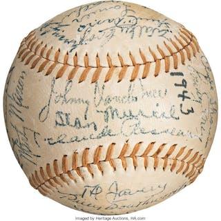 1943 National League All-Star Team Signed Baseball.