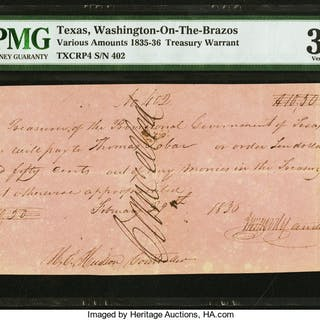(Washington-on-the-Brazos), TX- Treasurer of the Provisional Government