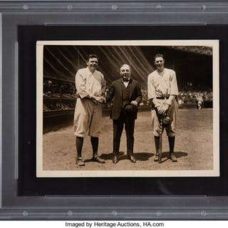 1922 Babe Ruth, Bob Meusel & Jacob Ruppert Original News Photograph