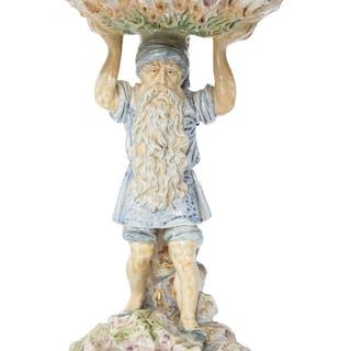 An Austrian Partial Gilt Ceramic Figural Centerpiece, circa 1890 Marks: