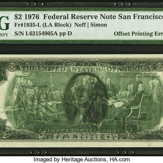 Fr. 1935-L $2 1976 Federal Reserve Note. PMG Choice Uncirculated 64. ...