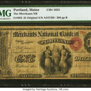 Portland, ME - $1 Original Fr. 382 The Merchants NB Ch. # 1023 PMG