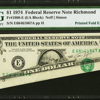 Fr. 1908-E $1 1974 Federal Reserve Note. PMG About Uncirculated 53 EPQ. ...