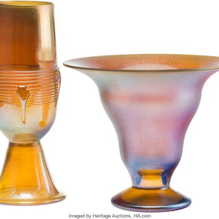 A Tiffany Studios Gold Favrile Vase and An Iridescent Glass Vase