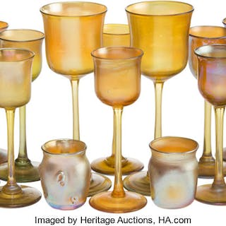 Twenty-Two Tiffany Studios Favrile Glass Table Articles, New York