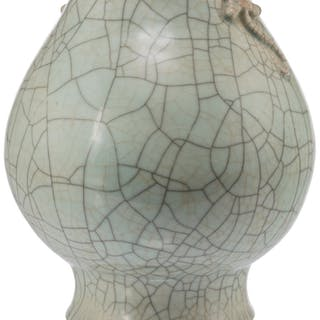 A Chinese Porcelain Ge Ware Vase, 18th century 10-3/4 x 8-1/2 x 8-1/2