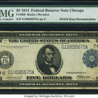 Fr. 868 $5/$10 1914 Federal Reserve Note PMG Choice Fine 15. ...
