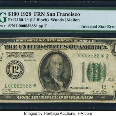 Fr. 2150-L* $100 1928 Federal Reserve Note. PMG Very Fine 25. ...