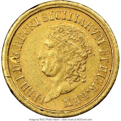Naples & Sicily. Ferdinand I gold 3 Ducati 1818 MS60 NGC,...