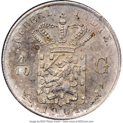 Dutch Colony. Wilhelmina 1/10 Gulden 1901-(u) MS63 NGC,...