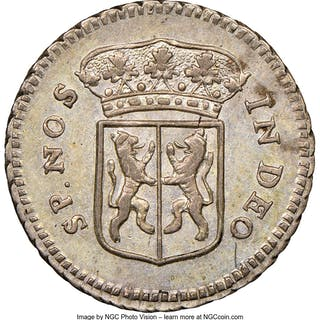 Dutch Colony. United East India Company silver 1/2 Duit 1757 AU58 NGC,...