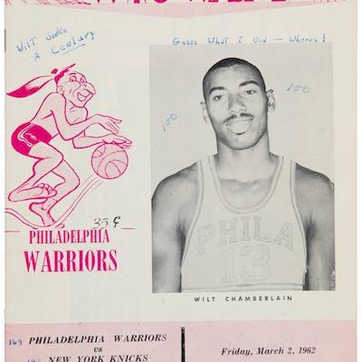 1962 Philadelphia Warriors Wilt Chamberlain 100 Point Game Program.