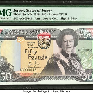 Jersey States of Jersey 50 Pounds ND (1989) Pick 19a PMG Gem Uncirculated