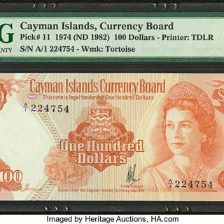Cayman Islands Currency Board 100 Dollars 1974 (ND 1982) Pick 11 PMG
