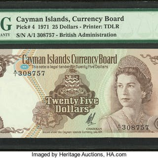 Cayman Islands Currency Board 25 Dollars 1971 (ND 1972) Pick 4 PMG