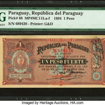 Paraguay Republica del Paraguay 1 Peso 24.9.1894 Pick 88 PMG Extremely