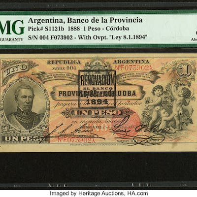 Argentina Banco Provincial 1 Peso 1.1.1888 Pick S1121b PMG About Uncirculated