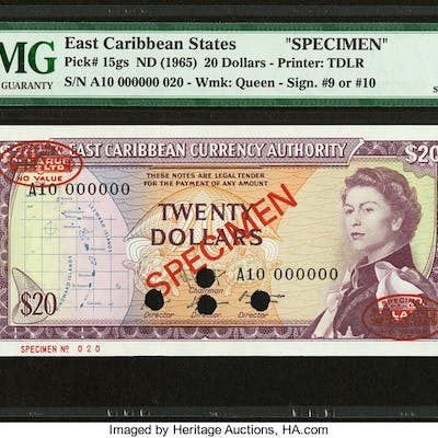 East Caribbean States Currency Authority 20 Dollars ND (1965) Pick