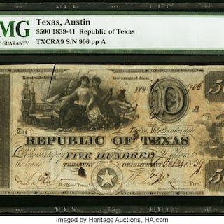 Austin, TX- Republic of Texas $500 Oct. 24, 1839 Cr. A9 Medlar 29