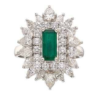 Emerald, Diamond, Platinum Ring-Dant ...