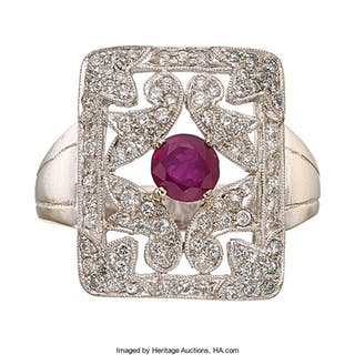Burma Ruby, Diamond, White Gold Ring ...