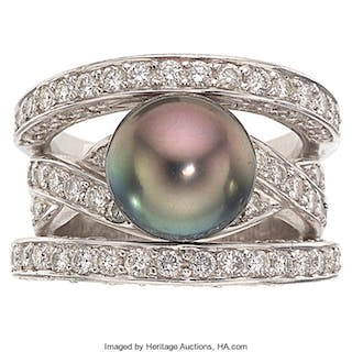 South Sea Cultured Pearl, Diamond, Platinum Ring, Robert Wander  ...