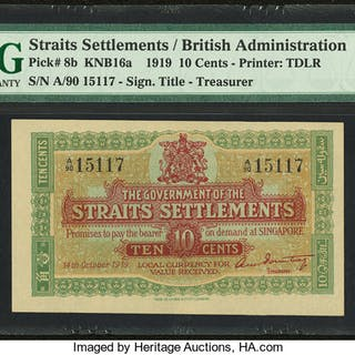 Straits Settlements Government of Straits Settlements 10 Cents 14.10.1919