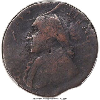 1795 Washington North Wales Halfpenny, Two Stars at Each Side of Harp, BN