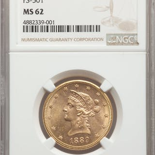 1889-S/S $10 Repunched Mintmark & Doubled Die Reverse , FS-501